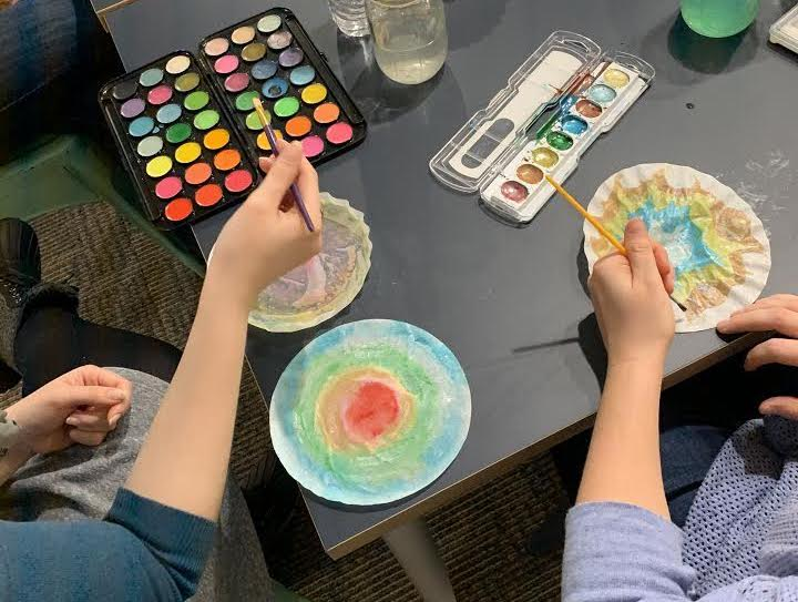Hands creating art